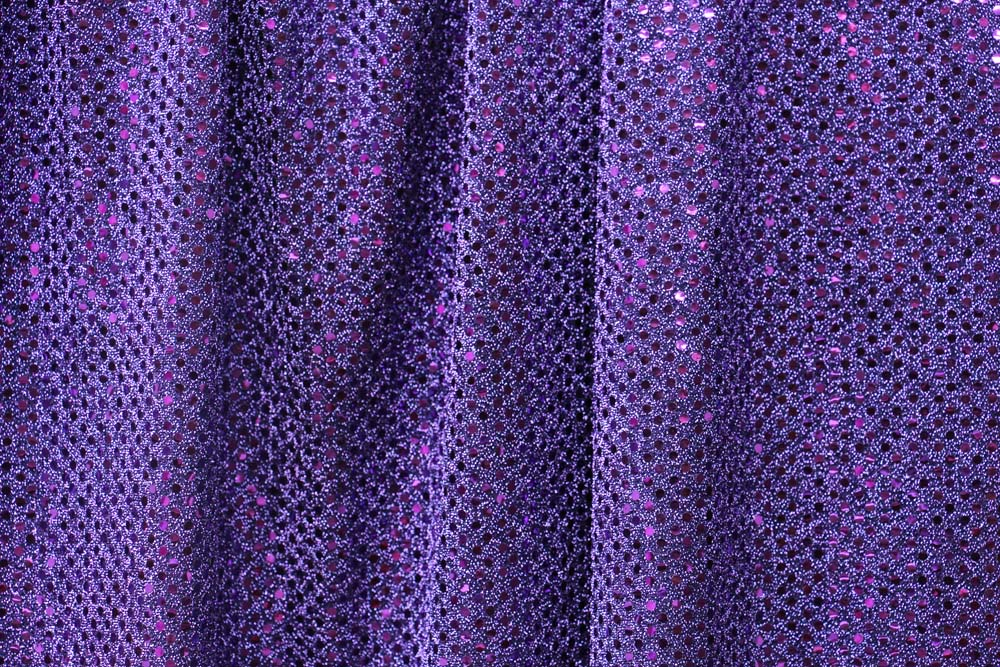 Purple sequin square overlay table manners