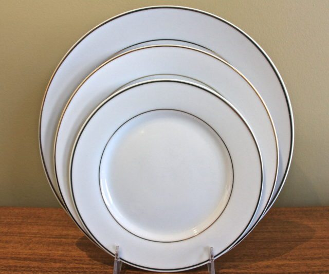 White With Gold Rim China Table Manners