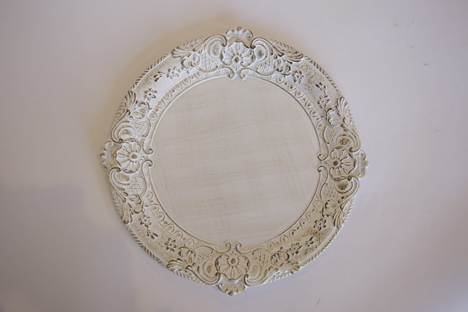 White Patina Charger Plate Table Manners